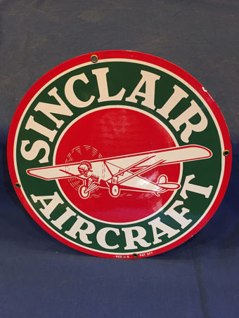 Sinclair Aircraft 12 inch Round Sign