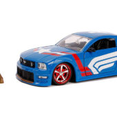 Jada Toys Marvel Captain America, 2006 Ford Mustang Die-Cast Car, 1:24 Scale Vehicle, 2.75 inch Die-Cast Collectible Figure