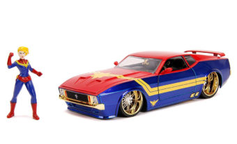 Jada Toys Marvel Captain Marvel, 1973 Ford Mustang Mach 1 Die-Cast Car, 1:24 Scale Vehicle, 2.75 inch Die-Cast Collectible Figure