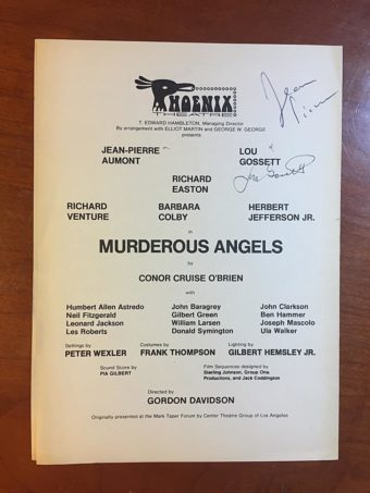 Phoenix Theatre Playbill Page for Murderous Angels Signed by Lou Gossett and Jean-Pierre Aumont (1971)