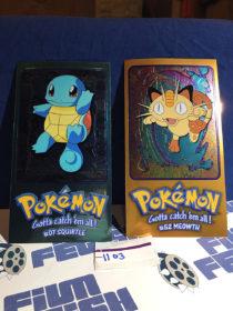 Topps Chrome Foil Card Pokemon TV Animation Edition 2/5 Jumbo #07 Squirtle & #52 Meowth [1103]