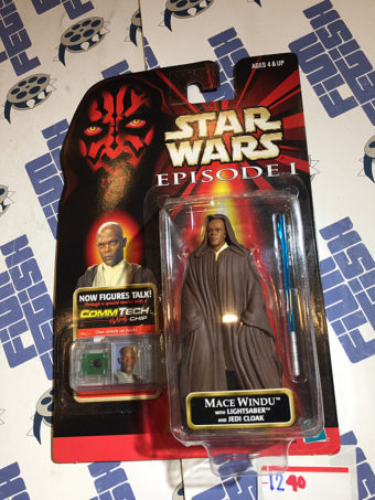 Star Wars: Episode I Mace Windu Action Figure Lightsaber and Jedi Cloak with Talking CommTech Chip (1998) [1240]