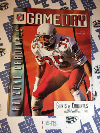 Gameday Magazine (Oct. 8, 1995) New York Giants vs. Arizona Cardinals at Giants Stadium – Aeneas Demetrius Williams [12172]
