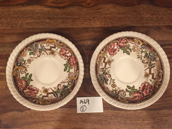 Vintage Devonshire Johnson Bros England Set Of 2 Saucers Pat. N. 118579