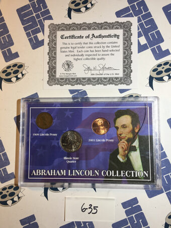 Morgan Mint Abraham Lincoln Coin Collection – 1909 Penny, 2003 Penny, 2003 Illinois State Quarter