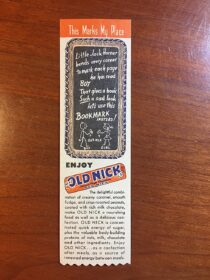 Vintage Old Nick Advertising Bookmark (1945) Schutter Candy Company, St. Louis, Mo. Candy Eating Chart
