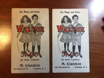 Walton Leather Shoes Vintage Advertising Cards – M. Klatzkin, Trenton, NJ (Set of 2)
