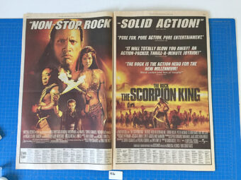 Original Full Page Newspaper Ads for Movies Murder by Numbers and The Scorpion King (New York Times April 19, 2002) [A16]