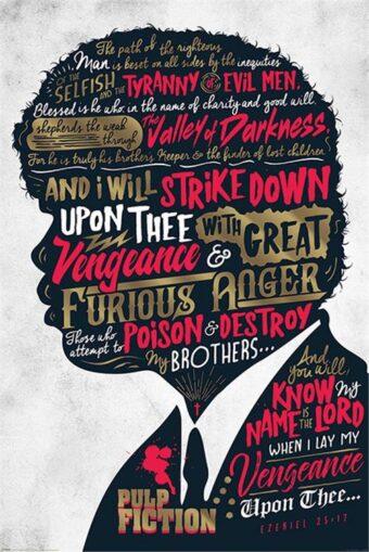 Quentin Tarantino's Pulp Fiction Ezekiel 25:17 Quote by Samuel L. Jackson 24 x 36 inch Movie Poster
