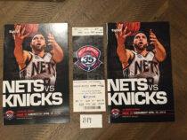 NBA New Jersey (Brooklyn) Nets vs New York Knicks Official Program + Ticket 35th Anniversary Last NJ Season (April 18, 2012) No. 8 Deron Williams [B19]
