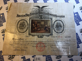 American Flag House and Betsy Ross Memorial Association Membership Certificate No. 36626 (1919)