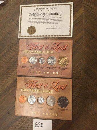 The American Historic Society First & Last Coins of the Millennium Set + Certificate of Authenticity 1999-2000 [B20]