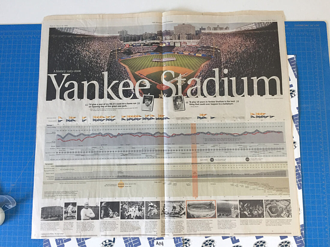 The Sunday Star Ledger Yankee Stadium Final Season Pullout Timeline Spread, Jennifer Lopez Full Page Perfume Ad (March 30, 2008) A14