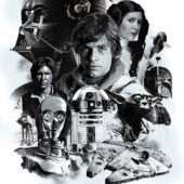 Star Wars: Episode IV – A New Hope 40th Anniversary Black and White Montage 24 x 36 Inch Movie Poster