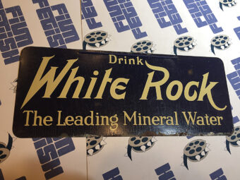 White Rock Mineral Water 10 x 4 inch Original Vintage Advertising Sign Litho in USA