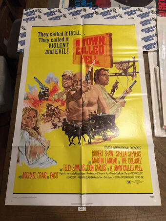 A Town Called Hell Original 27×41 inch Movie Poster (1971) Telly Savalas, Robert Shaw [C61]