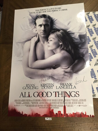 All Good Things 27×40 inch Original Movie Poster Signed by Kirsten Dunst and Frank Langella (2010)