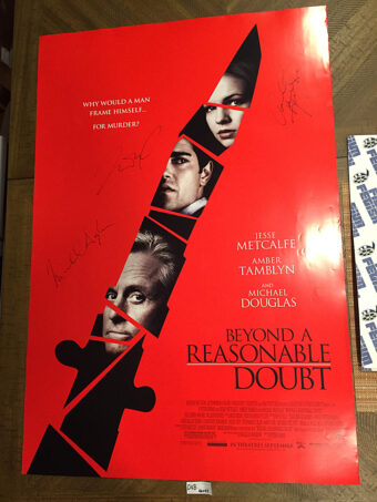 Beyond A Reasonable Doubt 2009 Original 27×40 inch Movie Poster Signed by Michael Douglas, Jesse Metcalfe and Amber Tamblyn [D48]
