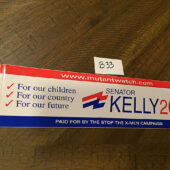 X-Men Movie Senator Kelly Campaign Promotional Bumper Sticker (2000) [B33]
