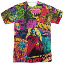 Universal Monsters Color Mash-Up All Over Print T-Shirt Design UNI1290