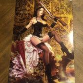 Lorenzo Sperlonga Steampunk Lingerie Woman with Pump Gun 16×24 inch Art Poster Print [E04]