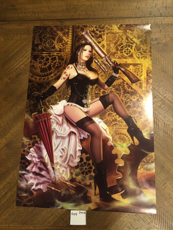 Lorenzo Sperlonga Steampunk Lingerie Woman with Pump Gun 16×24 inch Art Poster Print [E04]