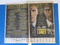 The New York Times Changing Lanes Original Full Page Movie Ad (April 19, 2002) [A17]