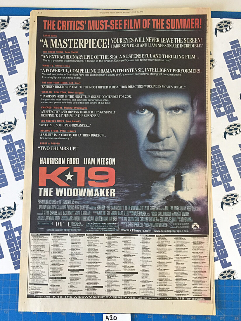 The New York Times K19: The Widowmaker/Who Is Cletis Tout? Original Full Page Newspaper Ads (July 26, 2002) [A20]