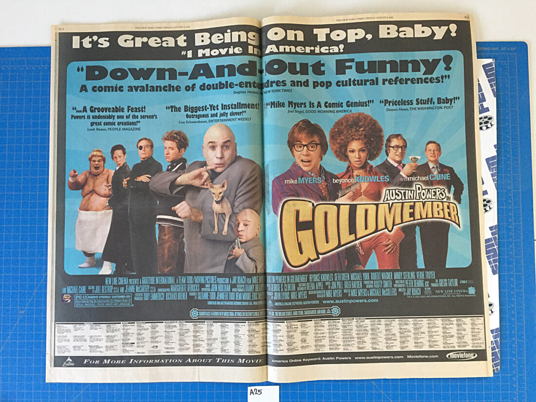 The New York Times Austin Powers in Goldmember/Martin Lawrence Live Original Full Page Newspaper Ads (August 2, 2002) [A25]