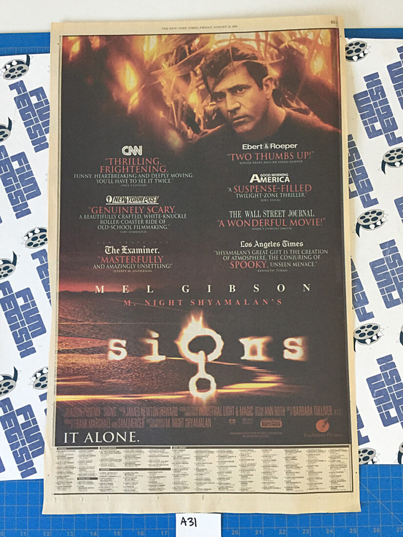 The New York Times Signs/S1m0ne Full Page Newspaper Movie Ads (August 23, 2002) [A31]