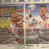 New York Daily News Insert – Super Bowl XLVI Coverage, Cruz, Pierre-Paul Caricatures Giants vs. New England Patriots (2012) [J48]