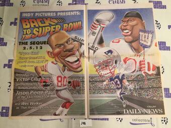 New York Daily News Insert – Super Bowl XLVI Coverage, Cruz, Pierre-Paul Caricatures Giants vs. New England Patriots (2012) [J48]