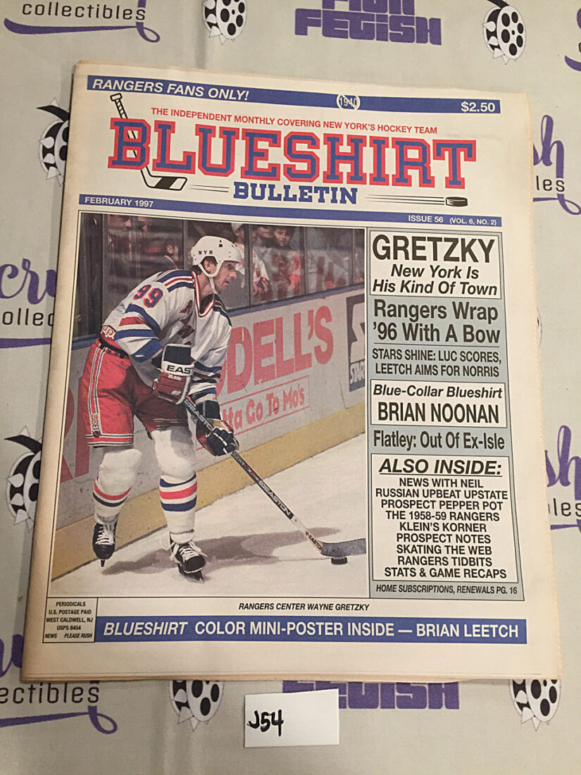 Blueshirt Bulletin New York Rangers Wayne Gretzky, Brian Leetch Poster (February 1997) [J54]