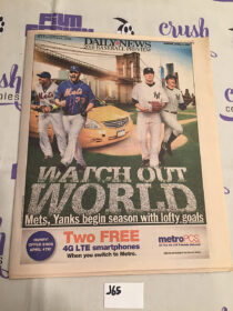 New York Daily News 2016 Baseball Preview Mets Yankees (April 3, 2016) [J65]