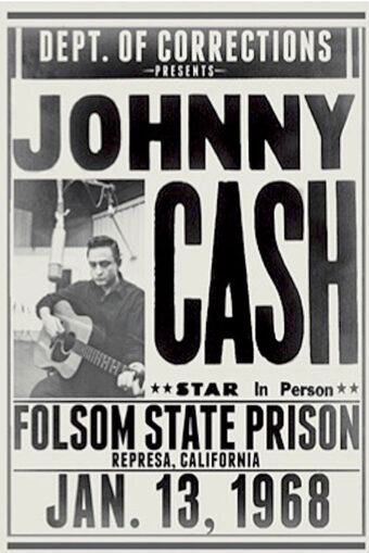 Johnny Cash Folsom State Prison 24 x 24 inch Music Concert Poster (1968) Represa, California