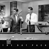 The Rat Pack Playing Billiards B&W 36×24 inch Poster