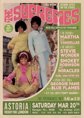 The Supremes Astoria Finsbury Park London (March 20, 1965) 23 X 33 inch Concert Poster