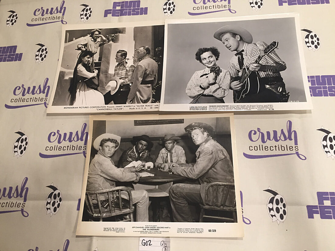Mixed Set of 3 Original 10×8 inch Western Movie Press Lobby Cards – Dub 'Cannonball' Taylor, John Saxon [G02]