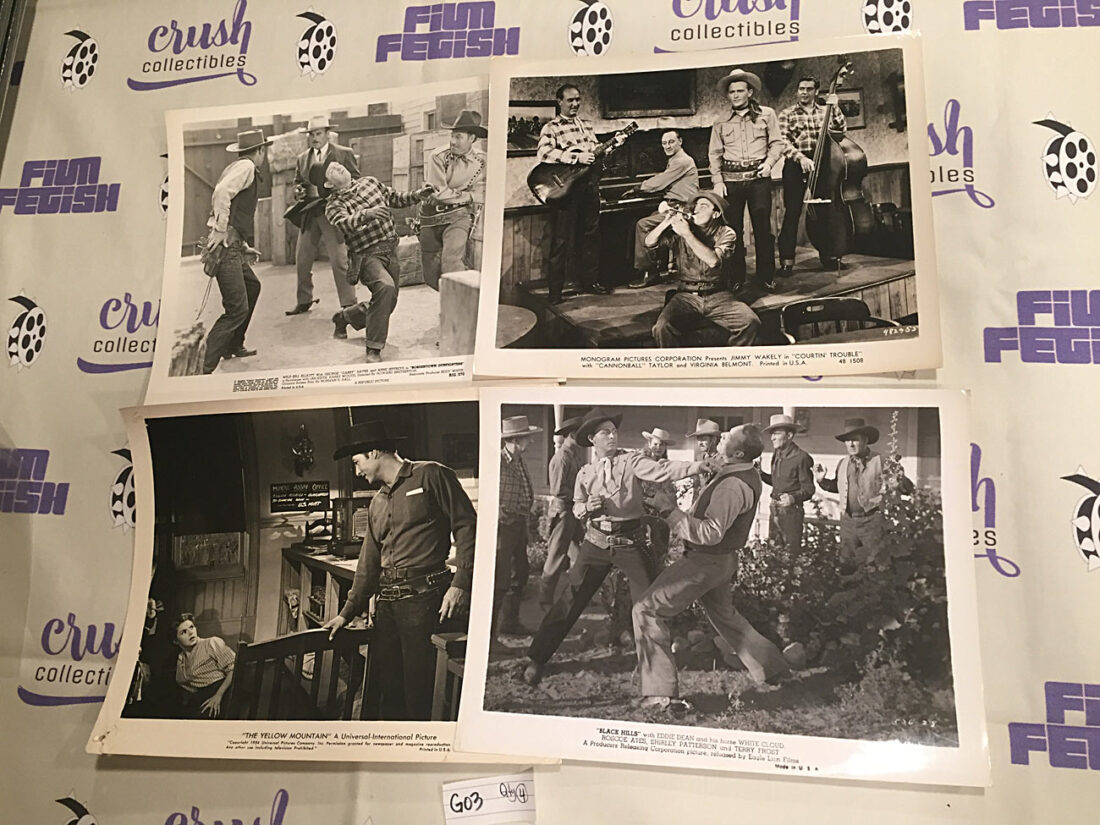 Mixed Set of 4 Original 10×8 inch Western Movie Press Lobby Cards – Dub 'Cannonball' Taylor, Jimmy Wakely [G03]