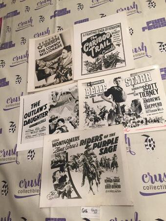 Mixed Set of 5 Original Western Movie Press Sheets [G06]