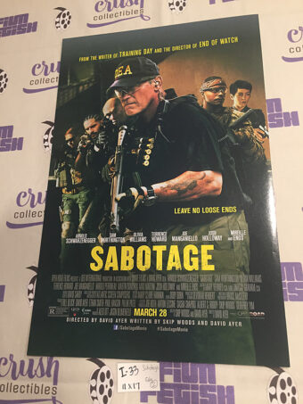 Sabotage 11×17 Original Promotional Movie Poster, Arnold Schwarzenegger [I33]