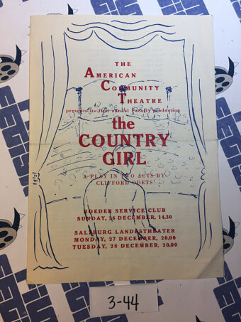 The Country Girl Theatre Program American Community Theatre – Alfred G. Brooks [344]