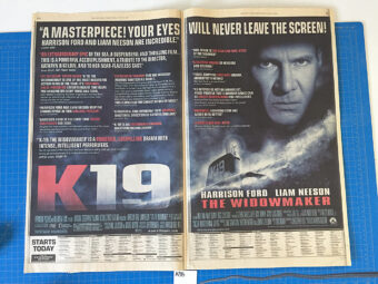 K19: The Widowmaker Original Full Page Newspaper Ad (New York Times July 19, 2002) [A38]