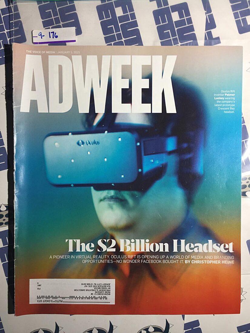Adweek Magazine (January 5, 2015) Oculus Rift, Virtual Reality Headsets [9176]