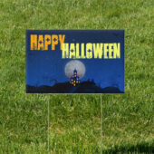 Halloween Home in Blue 18 x 12 Yard Sign Version 2