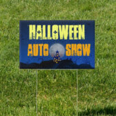Halloween Home in Blue 18 x 12 Auto Show Yard Sign Version 3
