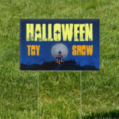 Halloween Home in Blue 18 x 12 Toy Show Yard Sign Version 4