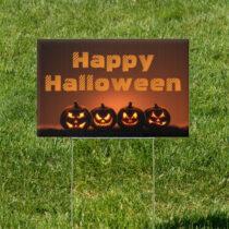 Lit Lanterns Pumpkin Halloween 18 x 12 Yard Sign Version 3
