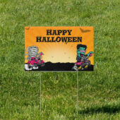 Spooky Auto Monsters Yard 18 x 12 inch Sign Version A