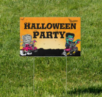 Spooky Auto Monsters 18 x 12 inch Yard Sign Version B
